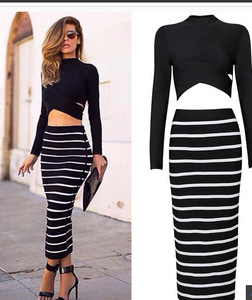 Women's maxi long sleeve two piece pencil skirt stripe dress wholesale