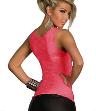 Sexy Lace Women Tank Top New 2015 Summer  Perspective Sleeveless Slim Fit Tops Tank Vest, Black, Hot Pink