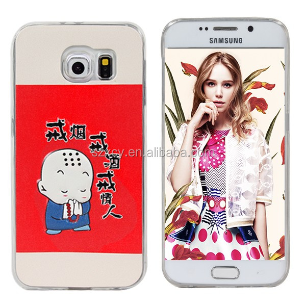 China factory fancy 3D custom printer leather patch on soft TPU mobile phone case for samsung galaxy S6 edge