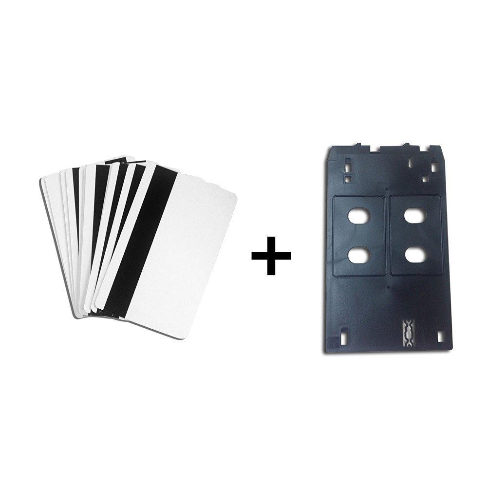 Inkjet PVC ID Card Starter Kit - 10/20/50/100/150pcs White Printable Hico Magnetic Strip Inkjet PVC ID Card + Plastic Inkjet PVC ID Card Tray for Canon J IP/MX/MG (100)