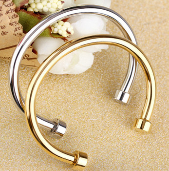 Surface Men Cuff Bracelet Bangle Stainless Steel Charm Adjule Silver Gold 2