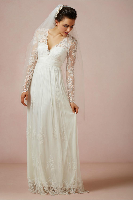 2014 New Design White/Ivory V Neck Lace Sheath Chiffon ...