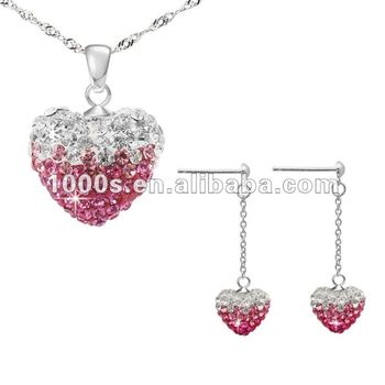 Colorful Czech Crystal Heart Jewelry Set