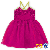 Hot Pink Summer Baby Girls Sequin Dress Fashion Kids Girl Party Wear Western Dress Children Frocks Designs
