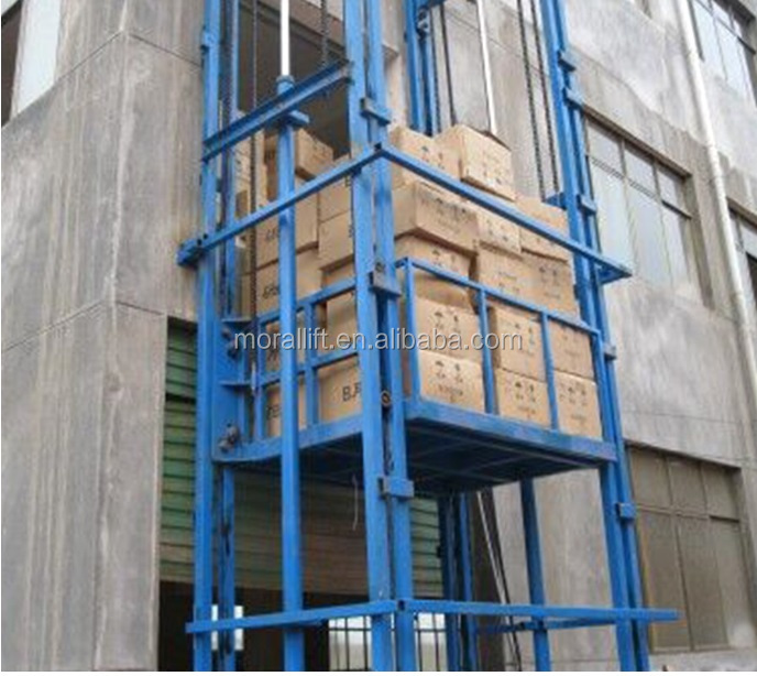 Warehouse vertical material lift platform/guide rail cargo lift