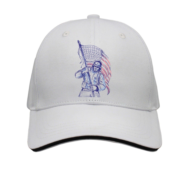 5f53a399375 Get Quotations · Kr.JAIEN Sandwich Peak Cap Adjustable Cap Black American  Warrior Army Flag Grassland Cool Peaked