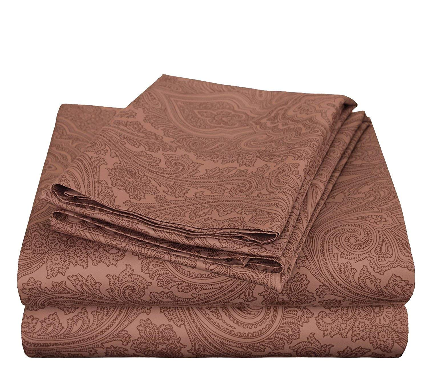 MISC 4pc Chocolate Color Paisley Themed King Sheet Set, Casual Colorful Teen Themed, Cotton Polyester, Bohemian Abstract Dark Brown Geometric Shape Deep Pocket Kids Bedding Bedroom
