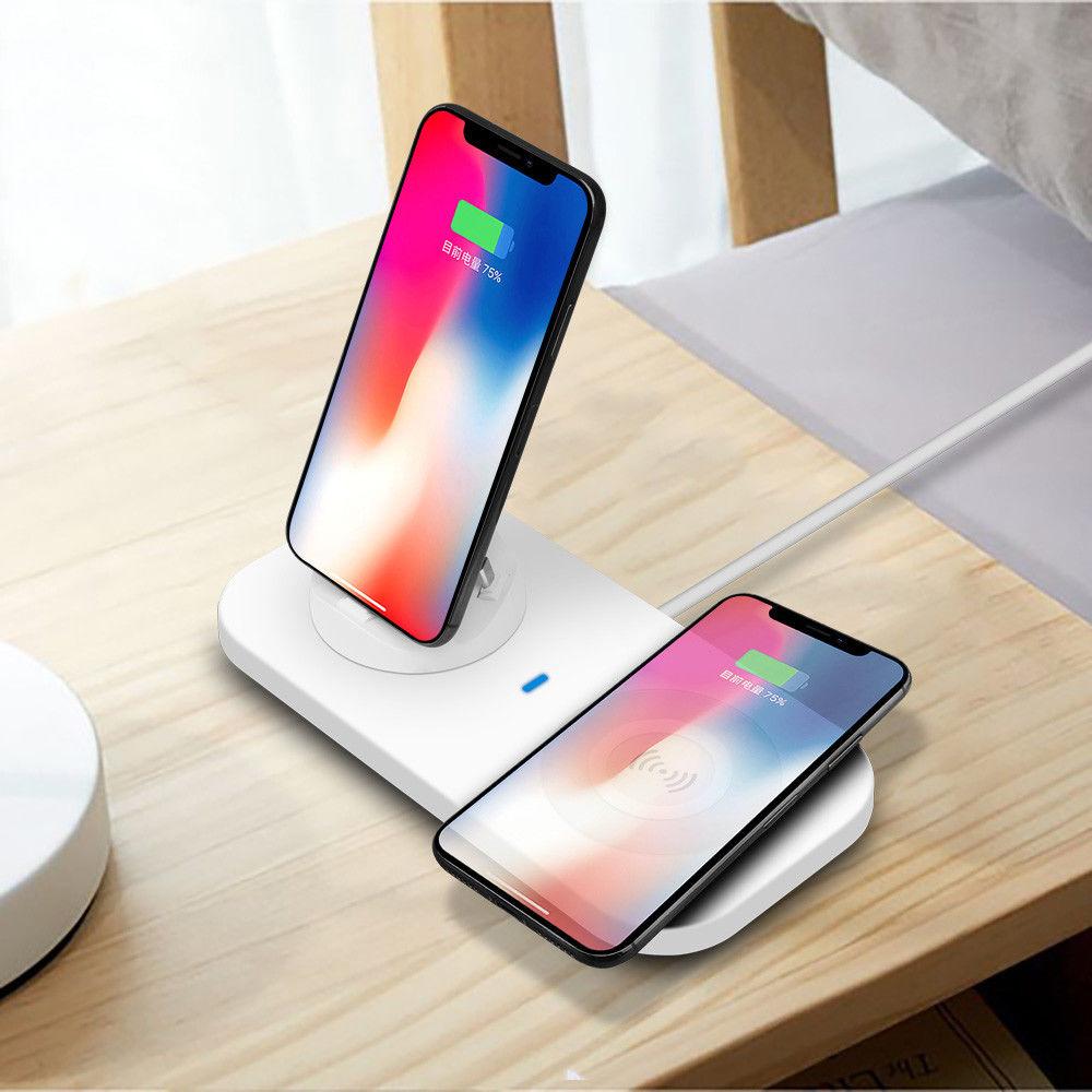 Yeni trend ürünleri 2019 Amazon online satış 2 in 1 şarj istasyonu cep telefonları için Kablosuz Şarj Cihazı