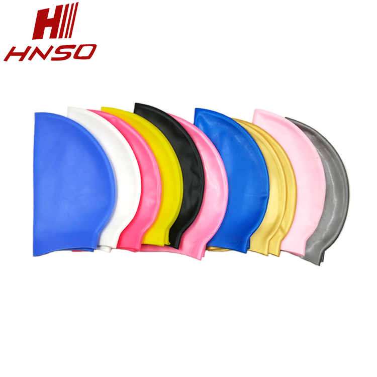 High quality nude custom printed silicone swimming cap with ear cover