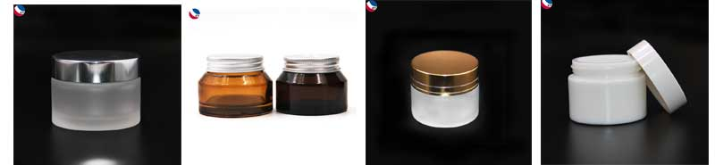 Cosmetic empty 100g wide mouth glass jar with lid gold metal