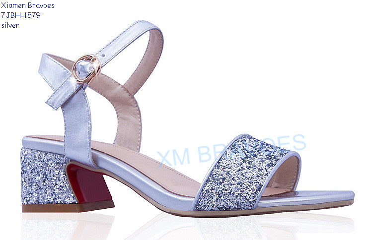Glitter Vamp And Heel Comfortable Strip Sandals Womens Shoes