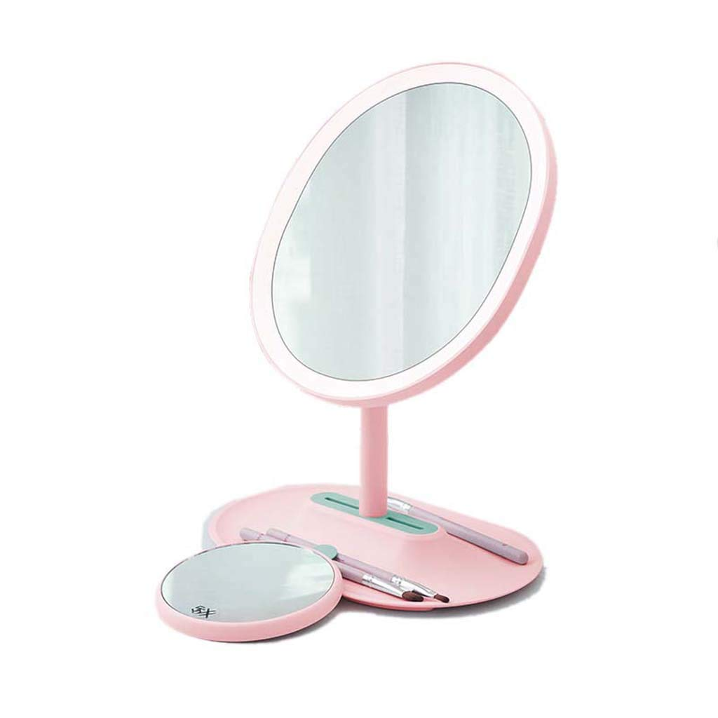 Makeup Mirror LED Fill Light Desktop Vanity Mirror Student Dormitory Mirror USB Charging 5 Times Magnification 90° HD Mirror Adjustment
