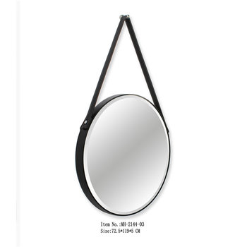 Wholesale Round Hanging Wall Decorative Mirror With Black Leather Strap Buy Decorative Mirror With Leather Strap Belt Round Mirror Faux Leather Wall Mirror Product On Alibaba Com
