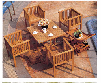 Garden Wooden Cube Chairs With Dining Car