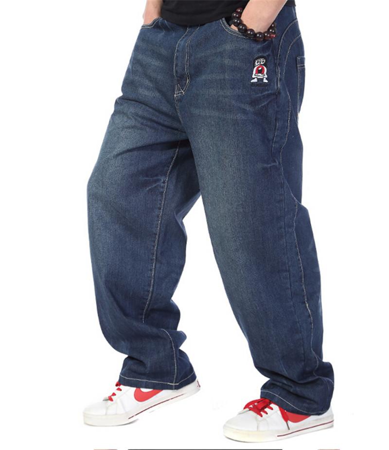 91c7d1407ed Get Quotations · Man Hip Hop Baggy Jeans Wide Leg Blue Plus Size 30-46 Denim  Pants Skateboard