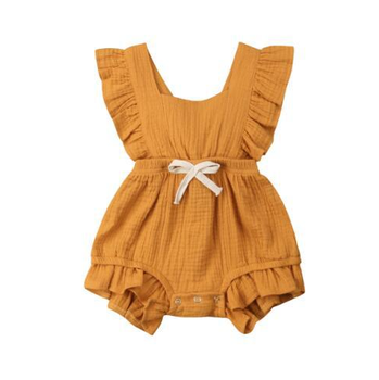 Cute Baby Girl Ruffle Solid Color Romper Sunsuit For Newborn Infant Children Clothes Kid Clothing