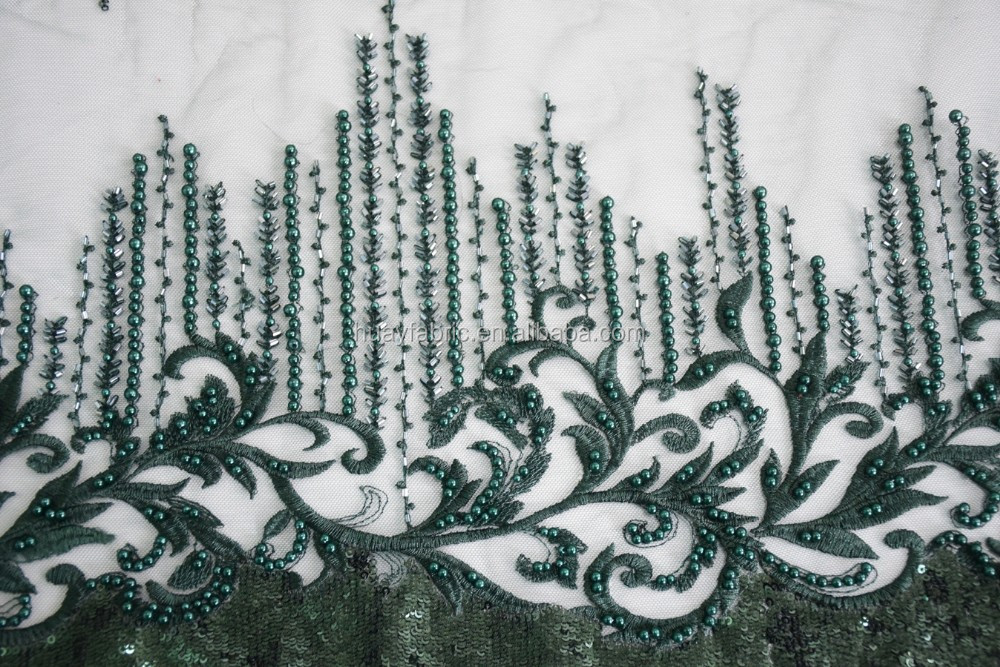 2017 Emerald Green Beading handwork French embroidery lace fabric / Embroidery wedding fabric /bridal beaded lace for summer