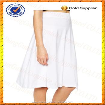 811cea33615ca8 Aangepaste witte elegante midi rok ontwerp voor meisjes effen witte  katoenen rokken vrouwen paraplu