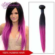 Two Tone Ombre Hair Straight Remy Malaysian Human Hair Extensions Color T1B/Pink