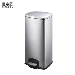 High Quality Stainless Steel Waste Bin Dustbin Rectangular Foot Pedal Trash Can