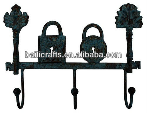 cast iron lock and key hooks