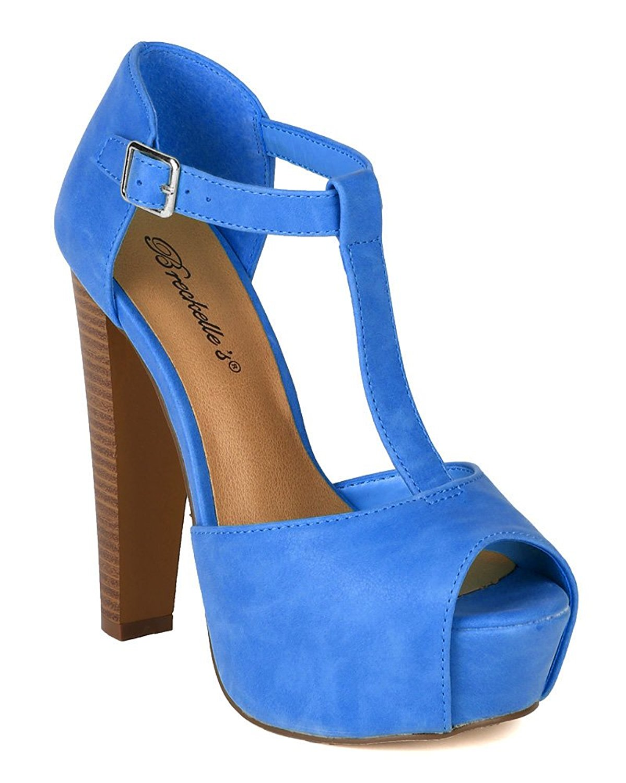 2d28259a33e Breckelles Women s Brina-21 Leatherette Platform T-strap Peep-toe Chuncky  Heels