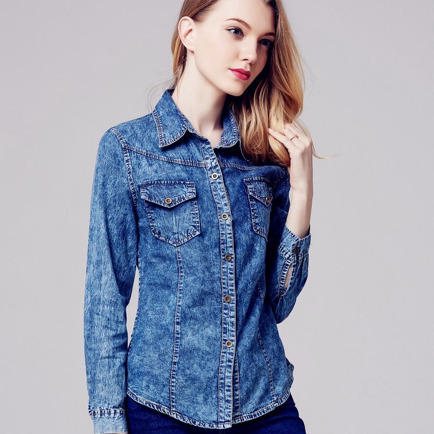Compra Blue jean camisa de las mujeres online al por mayor