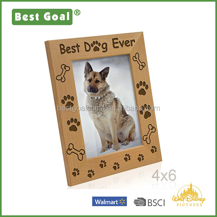 Best Dog Ever - Dog Paws and Bones Engraved Picture Frame (4x6-Vertical)