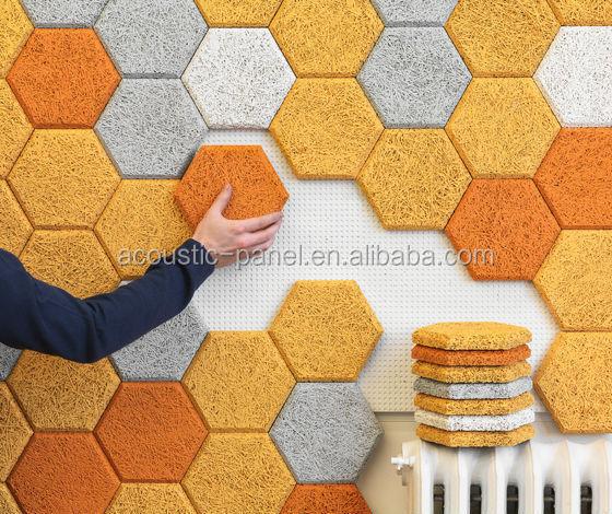 Hexagon Orange Wood Fiber Acoustic Wall Tile