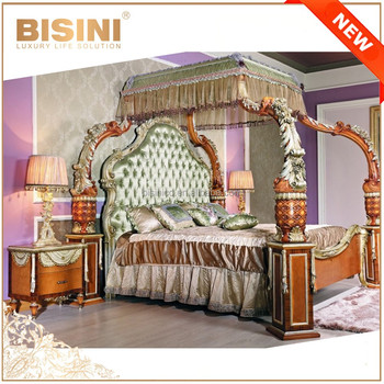 French Luxury Baroque Style Four Poster Canopy Bed European Breathtaking Wood Carved Kind Size