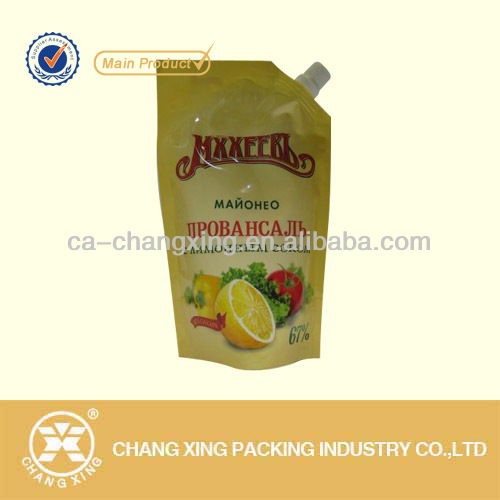 Spouted poly salad dressing packaging bag
