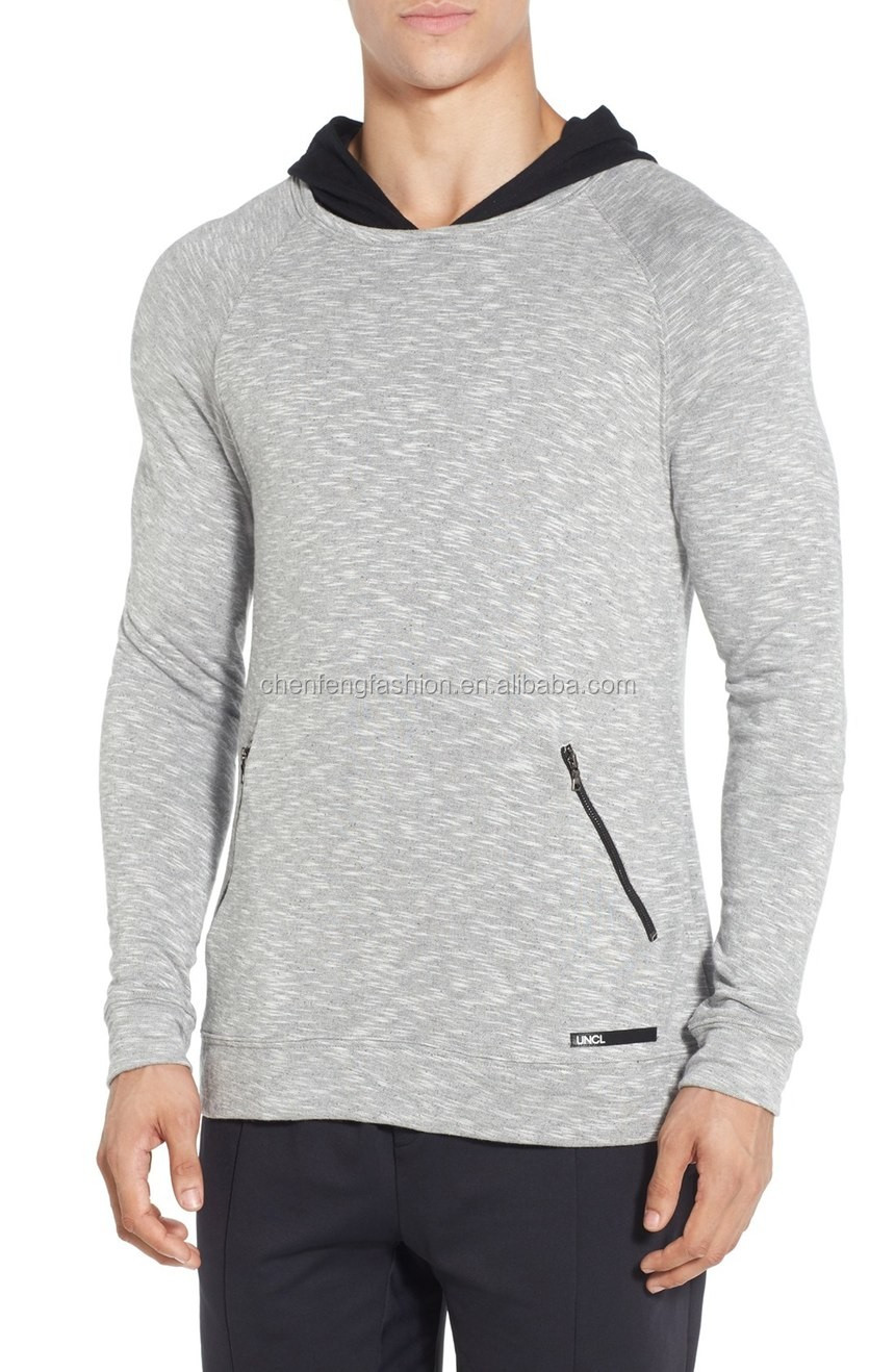 H44 Heathered Knit Front Zip Pocket Men Clothing Hoodie