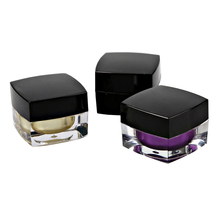 5g 15g 30g 50g 100g Square Plastic Acrylic Cosmetic Jar Containers Packaging With Black Cap For Skin Care