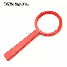3x50mm hot sale flat handle plastic magnifier magnifying glass for kids