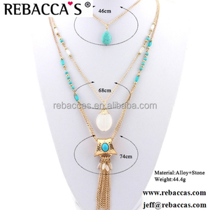 2018 Amazon Hot Sale Vintage 2 Layered Bohemian Turquoise Statement Necklace With Tassel