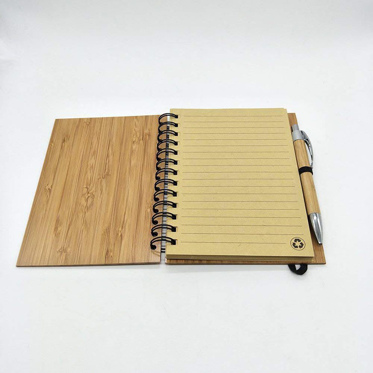 2019 amazon hot seller  Eco Bamboo Refillable Wooden Cover Notebook With Pen