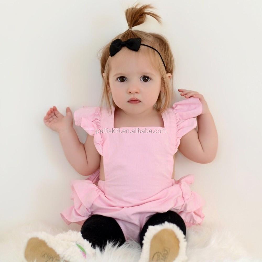 Wholesale New Design Baby Romper Pink Ruffle Romper Chic