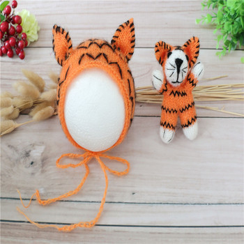 Crochet Tiger Stuffed Animal Toy Knit Tiger Hat Animal Bonnet Animal Toy  Newborn Photography Props 95724df69bd
