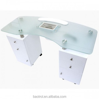 Single seat white MDF wooden bar style nail table station with armrest