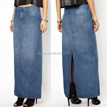 Wholesale Denim Maxi Skirt Long Blue Jean Skirts For Women Long ...
