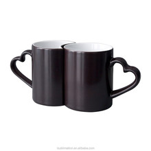 Sublimation black couple mug