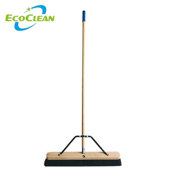 "EcoClean Industrial 24"" Heavy Duty  Multi-Surface Wooden Push Broom with 140CM Long Bamboo Handle"