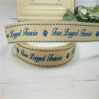 heat transfer printed grosgrain ribbon print blue english words with a dog footprint garment webbing
