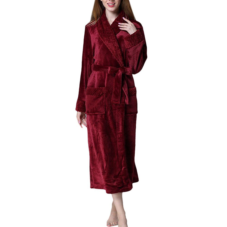 Get Quotations · Zhhlinyuan Mens Ladies Soft Fleece Robe Dressing Gown  Kimono Bathrobe Loungewear 0149b20e0