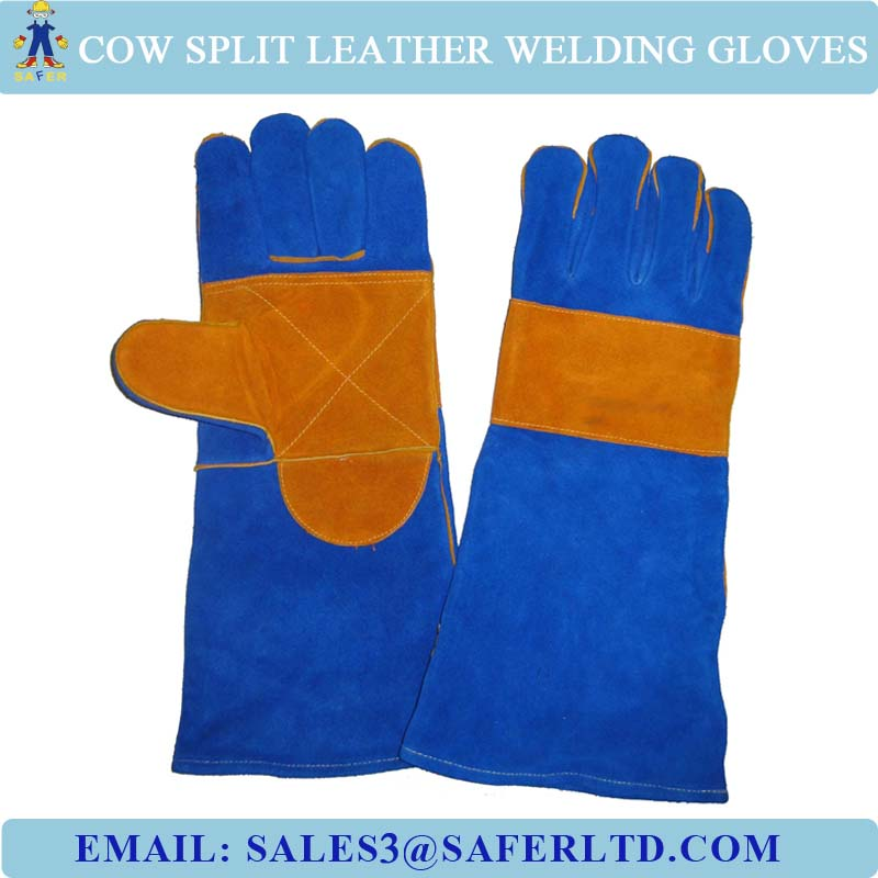 14 Inch Cowhide Leather Protective Hand Welding Gloves Industrial ...