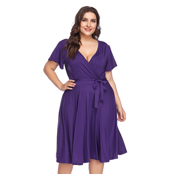 V Neck Midi Dress Amazon Hot Sale Fat Women Elegant Ladies Summer Solid  Purple Long Plus Size Maxi Dress - Buy Purple Flare Dress,Fat Women Midi ...