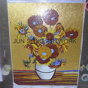 Js Mfl-vf01-c Flower Pattern Mosaic Picture Gold Mosaic Tile Sunflower Wall  Mural - Buy Sunflower Wall Mural,Gold Mosaic Tile,Flower Pattern Mosaic