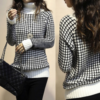 2015 European Autumn style High Quality Roll Neck Check Knitted Pullover Black and White Women's Sweater