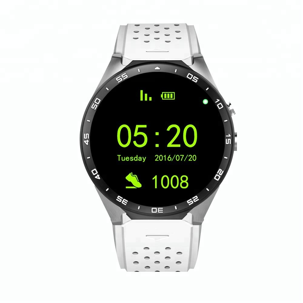 High level sport round screen android 5.1 heart reate monitor GPS support 3G sim card kw88 smart