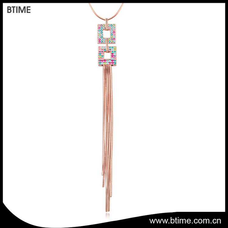 Rose gold plated fashion long chain tassel pendant jewelry necklace